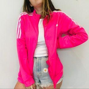 Adidas hot pink 3 stripe jacket